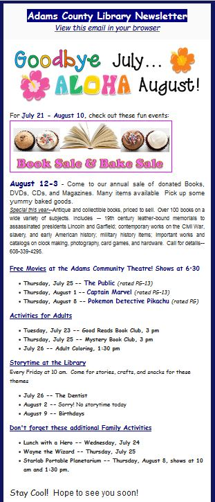 Library e-newsletters | Adams County Library
